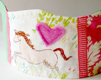 Pretty Pony Birthday Crown: Patchwork Fabric Dressup Toy for Kids Age 2 and Up