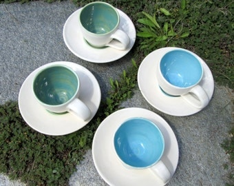 Set of Two Espresso Cups and Saucers in Shades of Turquoise Green