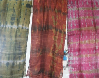 Hand tie dye  silk scarf