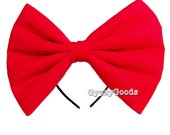 XXL Flannel Hair Bow (Headband) Adult big cosplay or costume hairbow in Red, Black, White, Pink, Blue, Purple or Yellow