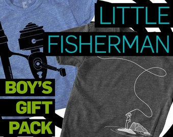 Boys Fishing Graphic Tee, Gift Pack, Fly Fishing & Fishing Reel, Woodland, Adventurer, Baby Boy Clothes, Hipster, Boys Clothes