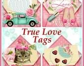 True Love Valentine Envelope Shape Tag Set of 4 Shabby Cottage Chic INSTANT DOWNLOAD Digital Printable