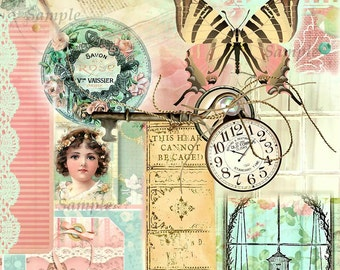 Vintage Ephemera Collage and BONUS Coordinating Tag Set #4 Digital Printable INSTANT DOWNLOAD