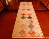 """Quilted Table Runner, Reversible, Simply Elegant Country, Applique 2.5"""" Pre-Cut Squares, Cottage Chic, Handmade, Table Linens"""