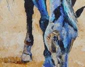 "Original Grazing Black Horse Oil Painting 6""x12"" NOT A PRINT"