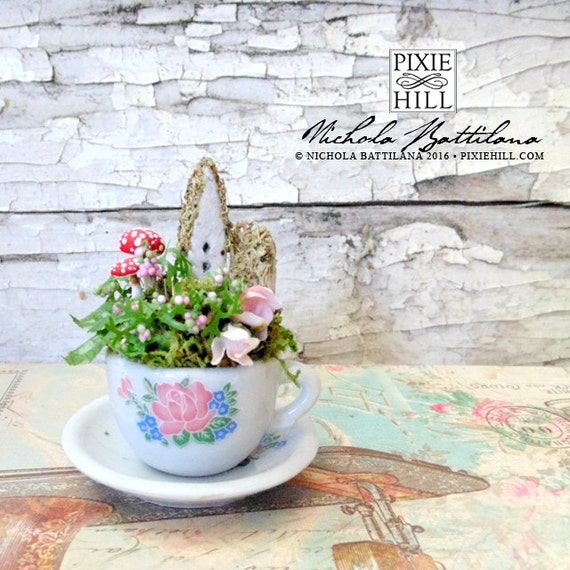 Tiny Fairy Cottage and Garden in a Miniature Tea Cup