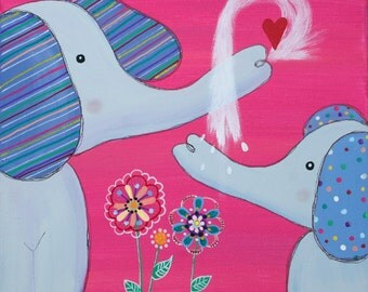 """ELEPHANT painting NURSERY ART Flowers on 12 x 12"""" canvas baby shower gift childs room decor"""