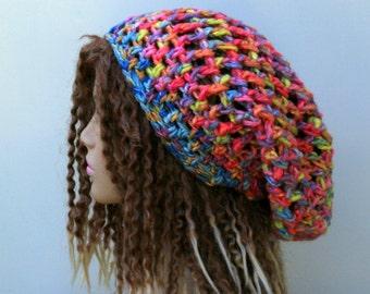 Girlie Patchwork Slouchy Beanie, Hippie Dread Tam Hat, Bohemian slouch beanie, Slouchy Beanie hat, wool cotton blend pink woman beanie hat