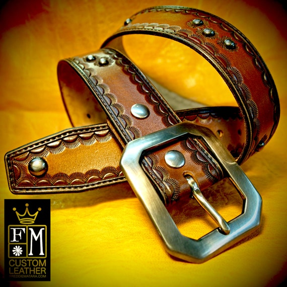 Brown Leather Belt Custom Made Hand Tooled bullet holes distressed vintage look handmade for YOU in New York City by Freddie Matara