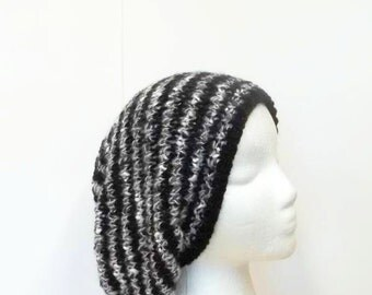 Black, gray and white stripes knitted slouchy hat   5202