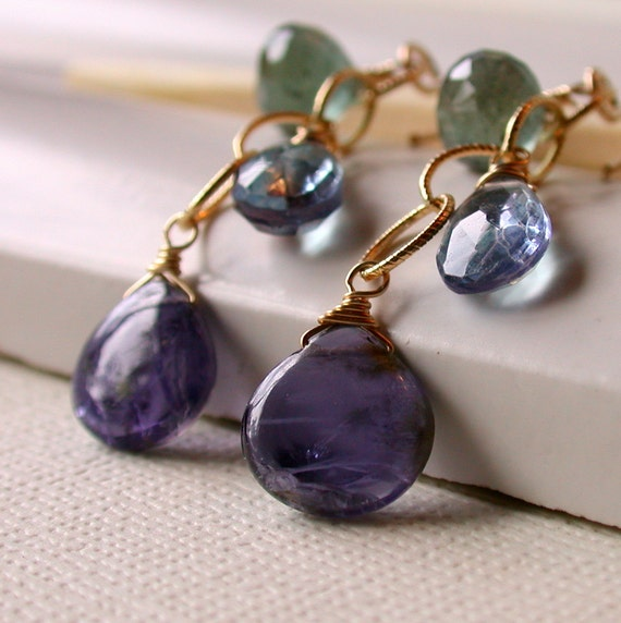 Midnight Cascade Earrings. Dangle. Artisan. Jewelry.