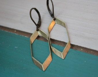 Hexagon Earrings, Ready to ship earrings, Modern Jewelry, Honeycomb Jewelry, Hexagon Hoops, Dangle Earrings