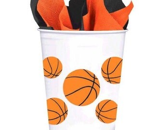 Basketball Fan Plastic Cups-8 Count*NEW*14ozs.