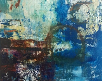 "Oxidation  blue abstract painting on canvas 24"" x 18"""