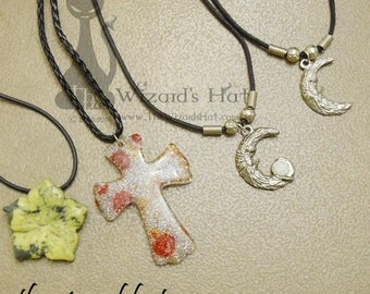 """18""""  Necklace with your choice of Flower, Resin Cross, Moon or Moon with crystal charm"""