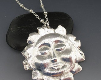 Fine Silver Smiling Sun Pendant Sterling Silver Necklace