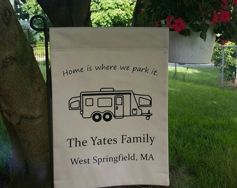 Campground Site Flag with personalization - your choice of camper type