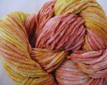 Chenille Cotton Yarn SUNSET GLOW Handpainted 150yds 2.6oz Worsted Weight knitting aspenmoonarts