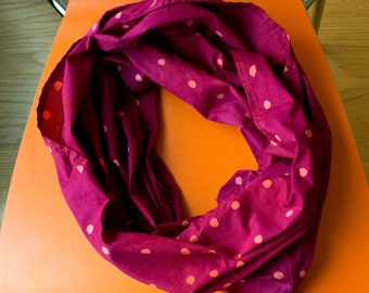 Wasabi Peas Hand Dyed and Patterned Infinity Scarf in Coral and Raspberry