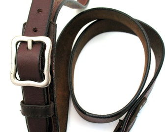 Chocolate Brown Leather Pet Leash Lead, Handmade from Reclaimed Belts, Pet Supplies, OOAK