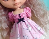SALE - Dress for Blythe - Find the Narwhal - Pink