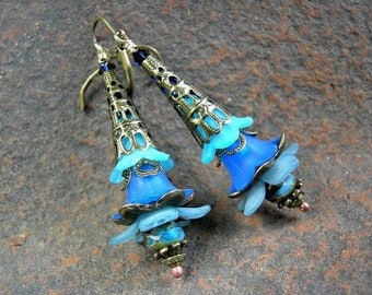 Blue Ombre Flower Earrings, Elven Wands, Shades of Blue, Hippie Gypsy, Gift under 30, Blue & Brass, Elvish Jewelry, Elksong Jewelry