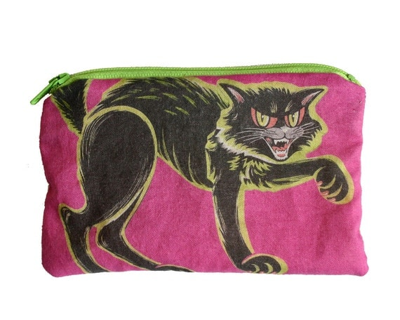 Vintage Halloween Cat Makeup Bag / Pencil Pouch
