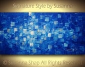 ORIGINAL Large Blue Abstract Painting Modern Art Texture Home Decor Wall Art Wall Decor Palette Knife Oil Painting 48x24 by Susanna