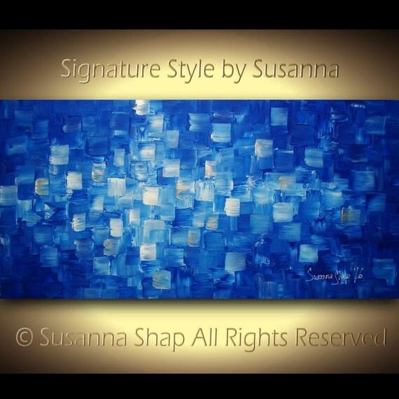 ORIGINAL modern blue wall art large abstract painting textured large blue abstract painting blue painting palette knife artwork susanna
