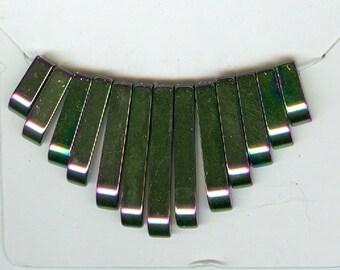Golden Purple Hematite Mini Cleopatra Collar Fan 13pc Bead Set