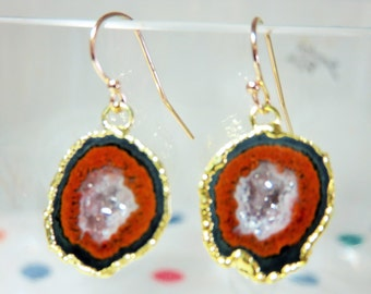 Natural Mexican Tobasco Agate Geode dipped and electroplated in 24k Gold and 14K Solid Yellow Gold Earwires
