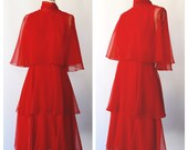 vintage 60s lipstick red chiffon tiered dress / cocktail party dress /small