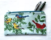 vintage bird print zipper pouch, unisex, coin purse, makeup cosmetic travel bag