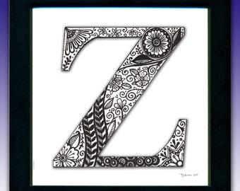 Framed 'Z' Monogram Print