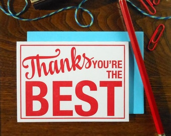 letterpress thanks you're the best sign greeting card red on white with blue envelope