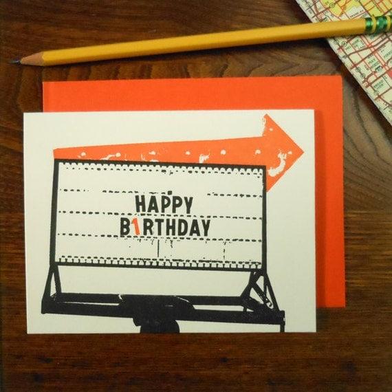 letterpress vintage birthday arrow greeting card orange happy birthday arrow sign roadside americana arrow
