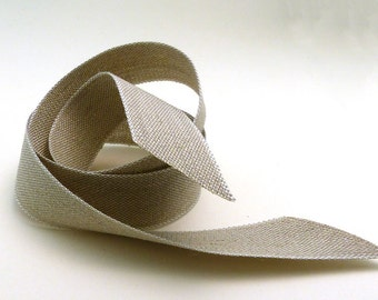 Natural Linen  Ribbon Made in France 1 Inch wide