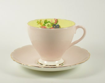 Vintage Foley Bone China Teacup Tea Cup Saucer Roses Flowers Floral Pink Yellow England