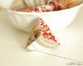 One Antique Vintage French Textiles Triangle Pin Cushion Pin Keep Ornament