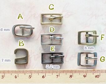 10 pcs - Tiny Mini Metal Antique Brass / Nickel Color Belt Buckle Doll / Shoes Supplies
