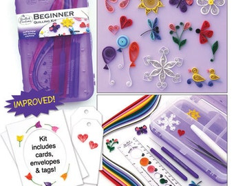 Quilled Creations BEGINNER Quilling kit Brand NEW paper cards instructions TOOLS Glue