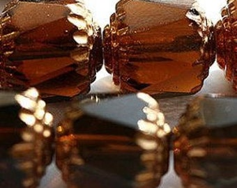 Cathedral beads  Topaz brown with copper Faceted  (10) 8MM Glass