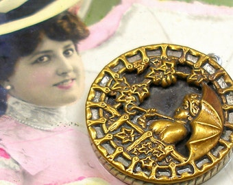 Antique BUTTON pendant, Victorian Lady with umbrella in 3D. One of a kind jewellery.