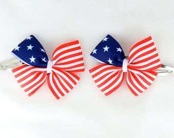 A Pairs of Little American Flag; Patriotic Hair Bows with Clips