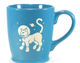Astronaut Cat Mug - space kitty coffee cup - Choose Your Color