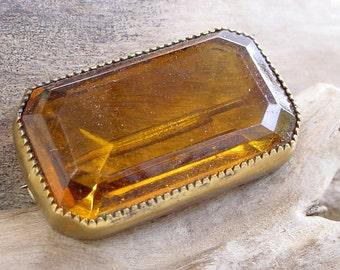 Brooch Pin - Vintage C Clasp Topaz Glass Bezel Set