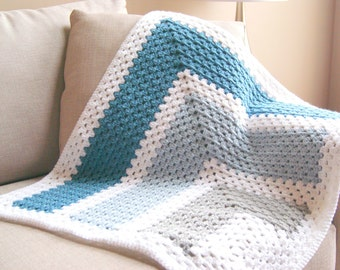 Crochet Pattern - Color Block Baby Blanket Pattern