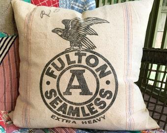 Vintage Grainsack Pillow Cover - Fulton Seamless - Heavy Grain Sack - Black on Off White - 20 - Eagle