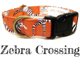 "Salmon Pink White Black Zebra Dog Collar - Safari Dog Collar - Antique Brass Hardware - ""Zebra Crossing"""