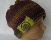 Green Purple Striped Knit Hat Felt Button